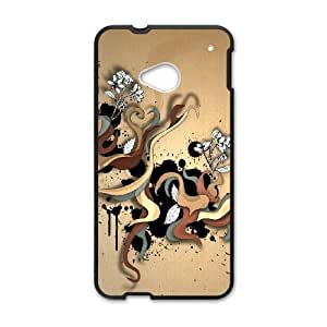 HTC One M7 Cell Phone Case Black Abstract Color Twirls LV7049266