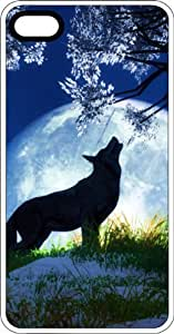 Wolf Under A Tree Howling At The Full Moon White Plastic Case for Apple iPhone 4 or iPhone 4s
