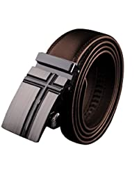 Panegy Men Leather Alloy Automatic Buckle Waist Belt - Brown (R1-115CM)