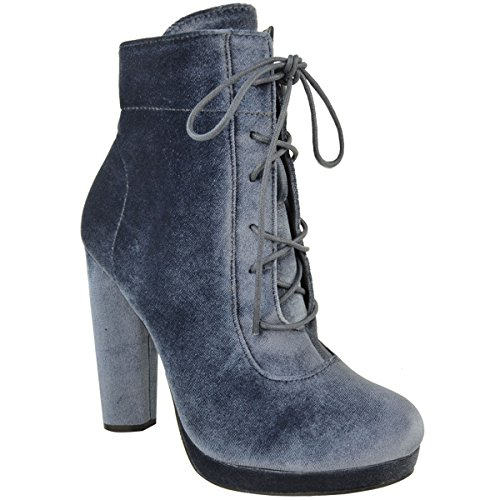 [Fashion Thirsty Womens Platforms Block High Heel Ankle Boots Lace Up Velvet Shoes Size 10] (Sexy Halloween Cost)