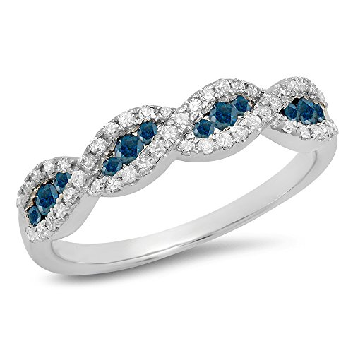 0.35 Carat (ctw) 10K White Gold Blue & White Diamond Ladies Bridal Wedding Band 1/3 CT (Size 10)
