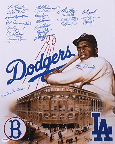 BROOKLYN & LA DODGERS MULTI SIGNED JACKIE ROBINSON 16x20 DUKE SNIDER TOMMY LASORDA +21 - Multi Signed Baseball
