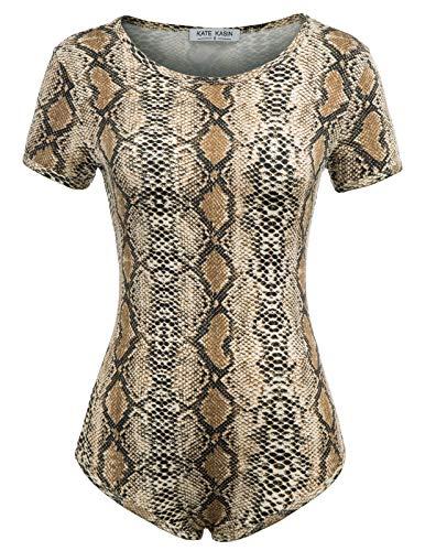 (Kate Kasin Women's Snakeskin Bodysuit Round Neck Bodysuit Stretchy Leotards(XL,Snakeskin))