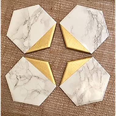 Marble and Gold Hexagonal Coasters Set of 4, Handmade, Minimalist Decor, Everyday Gift, Housewarming Gifts, Gift for Hostess, Birthday Gift, Coffee Tea Drinker, Wine Coasters