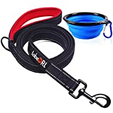 tobeDRI Heavy Duty Dog Leash - Comfortable Padded Handle, 6 ft Long - Dog Training Walking Leashes for Medium Large Dogs with A Free Collapsible Pet Bowl