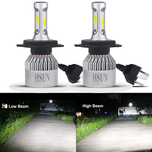 HSUN H4 9003 LED Headlight Bulbs,72W High Power Super Bright 8000 Lumens COB Chip,Hi/Low All-in-One Conversion Kit Replaced for Car Halogen Headlight Lights,Plug and Play,6500K White ()