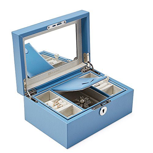 - Vlando Retro Lockable Jewelry Box Organizer w/Large Mirror and Key - 2-Layer for Necklaces Earrings Rings Holder Storage - Updated Microfiber PU Leather in River Blue