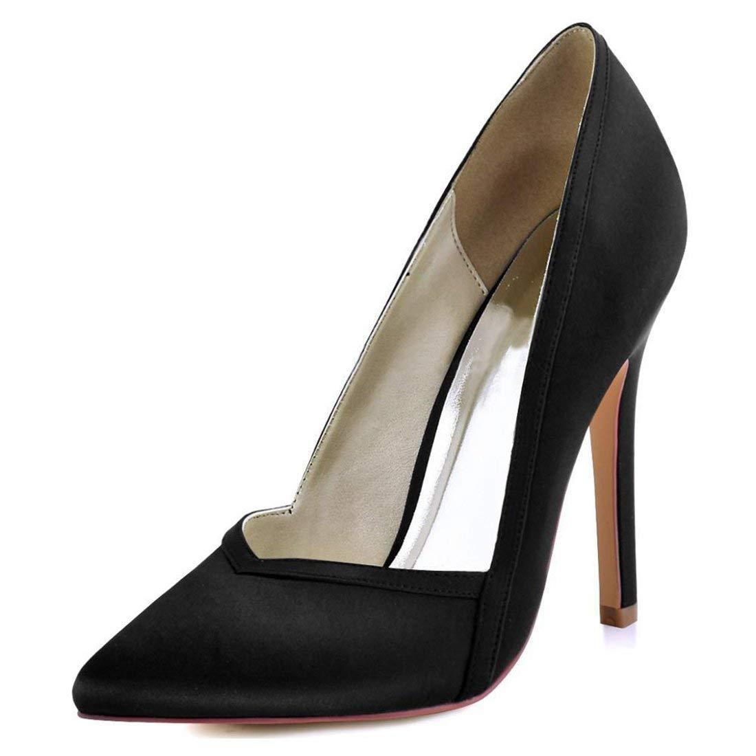 HhGold Damen Spitz Stiletto High Heel Schwarz Satin Hochzeit Abend Pumps UK 5.5 (Farbe   -, Größe   -)