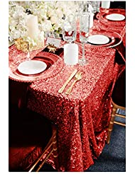 ShinyBeauty 60x102-Inch Sequin Tablecloth Red Sequin Rectangular Table Cloth For Wedding Party