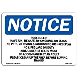 OSHA Notice Sign - Pool Rules Have Fun, Be Safe, No Smoking, | Choose from: Aluminum, Rigid Plastic or Vinyl Label Decal | Protect Your Business, Work Site, Warehouse & Shop Area |  Made in The USA