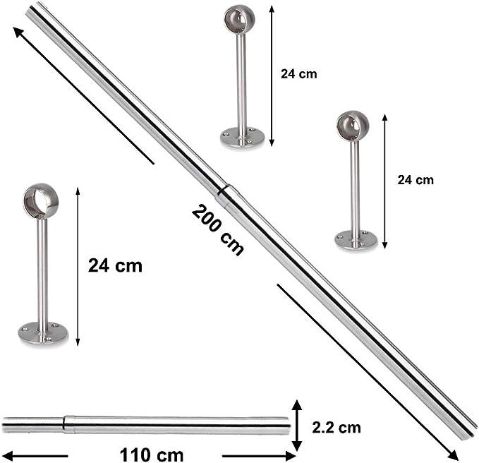 Mit 3 Befestigungsflanschen und Schrauben Kleiderstange sinzau 110-200 cm Edelstahl Teleskopstange