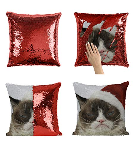 Christmas Grumpy Cat C11 Sequin Pillow, Merdmaid Magic Pillow, Sequins Pillowcase, Gift for Him Or Her, Funny Present Christmas Or Birthday, Reversible Scales Pillow (Cat C11)