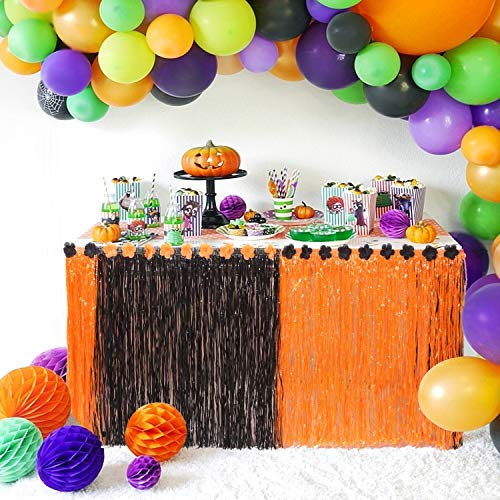 Tiki Bar Halloween Party (Halloween Table Skirt Tablecloth Hawaiian Luau Grass Table Skirt 9ft Libiscus Hula Tiki Table Skirt for Halloween Table Decorations)