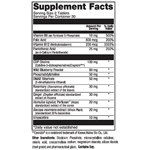 Mem-Plex, Brain Memory Supplement with Pantothenic Acid, 100 mg CDP Choline, Vitamin B & B12, Folic Acid, Rosemary, Ginger Extracts 60 Tablets