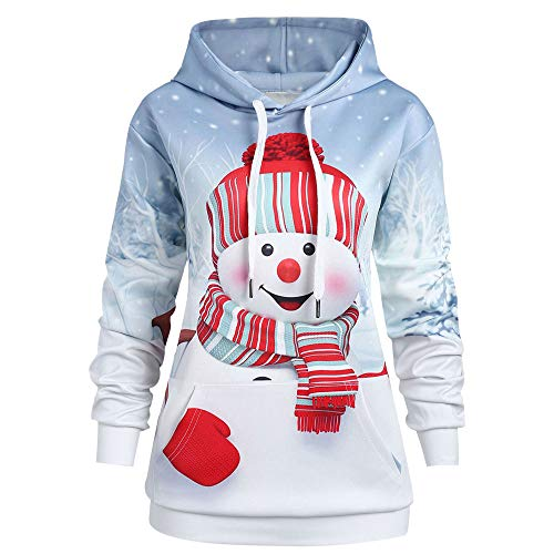 Women Christmas Sweatshirt, Seaintheson Cute Xmas Cartoon Snowman Print Hoodies Pullover Warm Tops with Kangaroo -