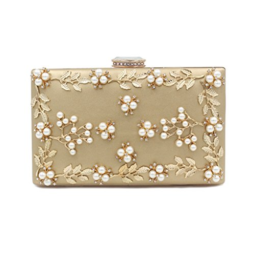 Kofun Women Evening Bag, Wedding Party Bags Women's Noble Pearl Beaded Evening Clutch Party Bags Bridal Wedding Purse Gold ()