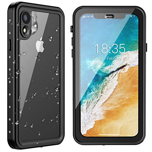 SPIDERCASE iPhone XR Waterproof Case, Upgraded Version with Clear Sound, Built-in Screen Protector Dustproof Snowproof Shockproof IP68 Waterproof Case for iPhone XR 2018 Released 6.1 inch (Black) (Best Dustproof Iphone Case)