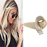 Cheap Full Shine 18″ 20 Pcs 50 Gram Per Package Nordic Balayage Ombre Color #18 Fading to #22 and #60 Seamless Remy Hair Extensions Dip Dyed Hair Extensions Glue in Extensions
