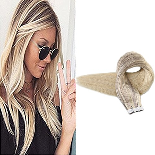 Cheap Full Shine 20″ 20 Pcs 50 Gram #18 Ash Blonde Fading to #60 Plantinum Blonde and #22 Nordic Remy Ombre Dip Dye Hair Extensions Glue in Hair Extensions Human Hair Double Sided Tape Hair Extensions