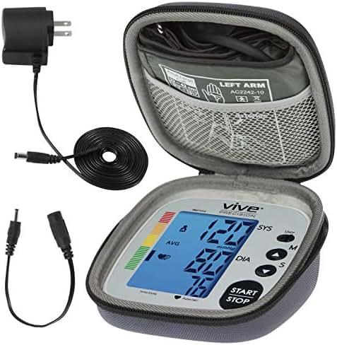 Vive Precision Blood Pressure Cuff - Heart Rate Monitor Machine - Automatic BPM Sphygmomanometer Heartbeat Measurements for Hypertension Diagnosis, Accurate Pulse Readings (Silver, Deluxe Model)