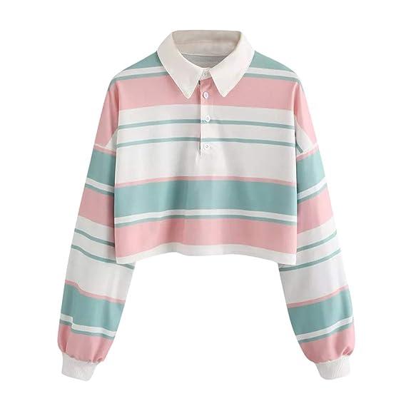 VJGOAL Solapa clásica de Moda Casual para Mujer Botón Impresión a Rayas Sudadera Pullover Top Blusa: Amazon.es: Ropa y accesorios