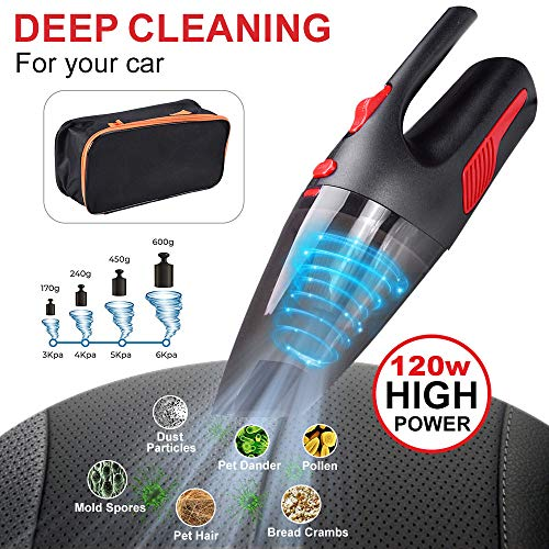 Car Vacuum Cleaner 12v Cord Power Portable Handheld for Auto Cleaning with HEPA Filter Strong Suction Wet/Dry Use 15ft 6000PA with LED Light