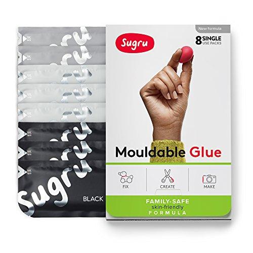 Sugru Moldable Glue - Family-safe | Skin-friendly Formula - Black, White & Grey 8-Pack - I000449
