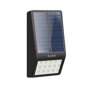 Recbot Luz Solar Jardín 15 LED 2000 mAh Lámparas Solares Exterior con Sensor de Movimiento y