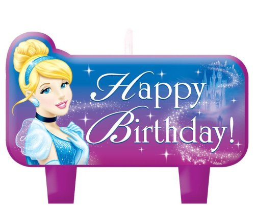 Disney Cinderella Molded Mini Character Birthday Candle, 4 Pieces, Made from Wax, For Birthday , 1 1/4