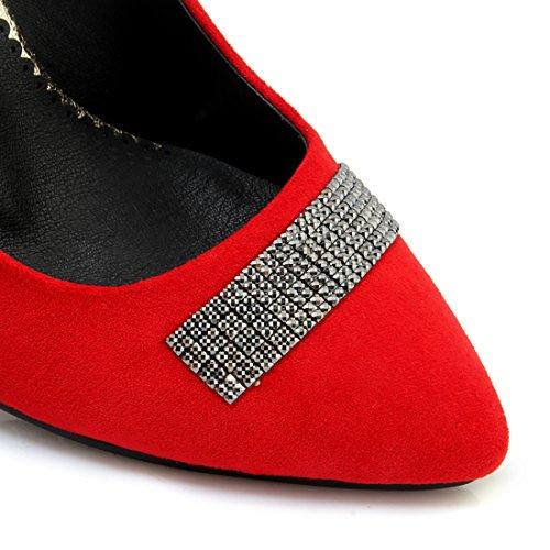 UH Femmes Chaussures Bout Pointu a Talon Moyennes Compensees DE 9 CM avec Dtrass Elegants en Mode Rouge xwOfWJd1tF