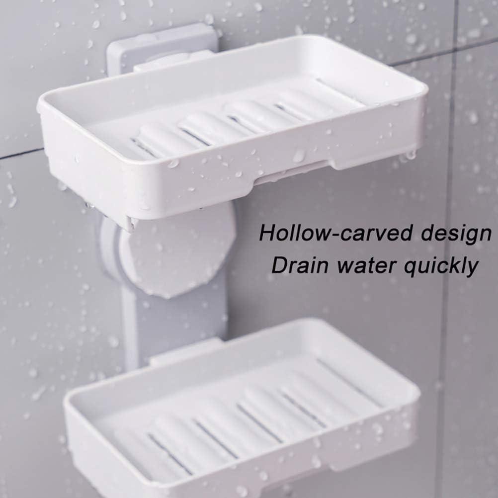 Calayu Jabonera de doble capa caja de jab/ón bar soporte para cocina sin punching montaje en pared jabonera ba/ño
