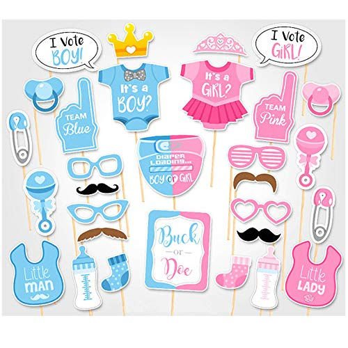 MAGQOO 30PCS Gender Reveal Party Boy or Girl Photo Booth Props Kit On A Stick -