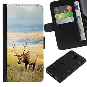 YiPhone /// Tirón de la caja Cartera de cuero con ranuras para tarjetas - El campo de los ciervos - Samsung Galaxy S5 Mini, SM-G800