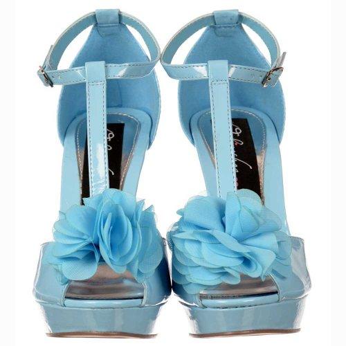 Onlineshoe Toe de femmes Stiletto Détail Pastel en Blue Peep Bar T dames Fleur bleu pastel 5AYACwrq