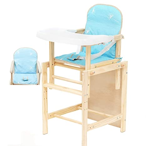 Black Adjustable Height Wooden Baby High Chair Seat With Removeable Tray