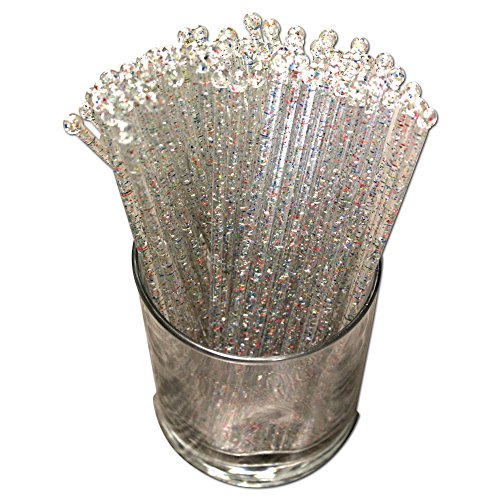 Royer 6 Inch Round Top Swizzle Sticks, Set of 48 - Made In USA (Crystal With Rainbow Glitter)