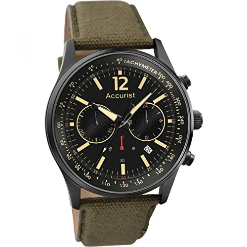 (Accurist Men's Quartz Watch with Black Dial Chronograph Display and Olive Green Nylon Strap MS612B.01)