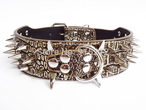 Unpre(TM)Colorful Cheap 100% Guarantee Spiked Studded PU Leather Dog Collars Perro PitBull Mastiff Pet Collar Gold Brown (Perros Pitbull)