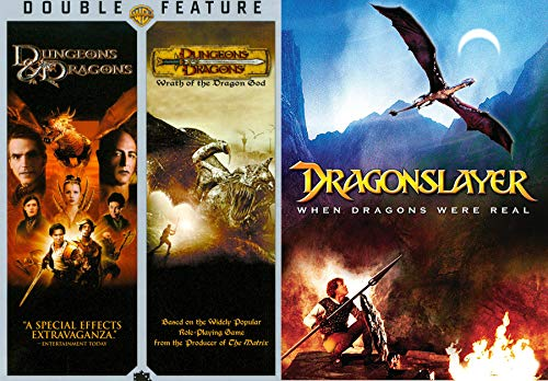 Magical Fire & Dungeons Save the Kingdom Dragonslayer & Dungeons & Dragons 1 & 2 Wrath of the Fire God DVD Triple Fantasy Movie Pack