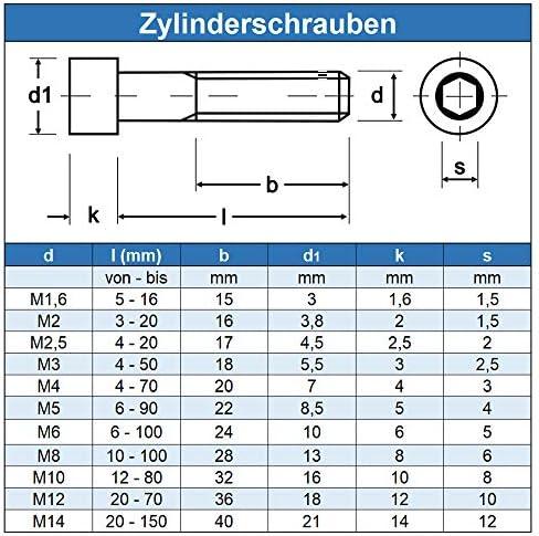 DIN 912 Gewindeschrauben Edelstahl A2 V2A- rostfrei 50 St/ück Zylinderschrauben mit Innensechskant M8 x 18 mm - Zylinderkopf Schrauben ISO 4762 Eisenwaren2000