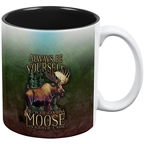 Merchandise Rocky And Bullwinkle - Always Be Yourself Unless Moose All Over Coffee Mug White-Black Standard One Size