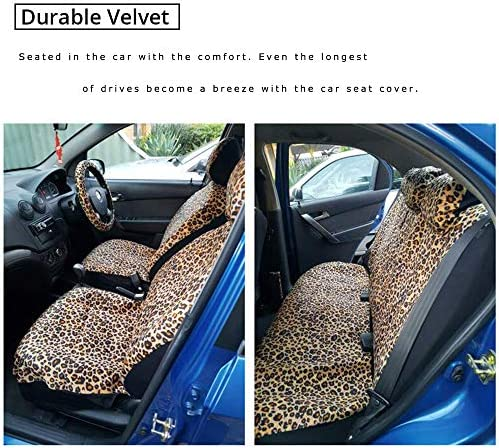 2 Pcs Set Animal Leopard//Cheetah Striped Pattern PZZ BEACH Comfortable Car Seat Cover Universal Fit Auto Front Seats Protector Cover- Brown