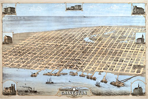 Galveston TX; Antique Map; Pictorial, Perspective or Birdseye Map, 1871