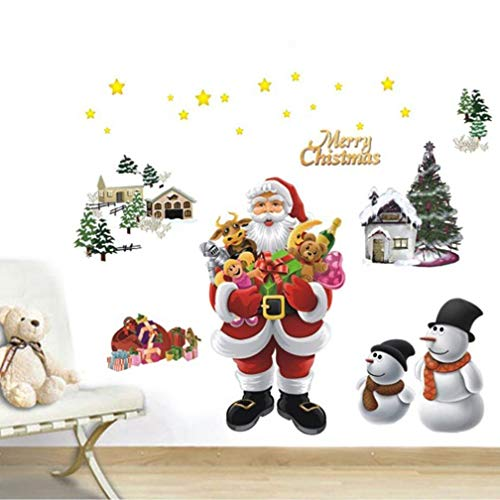 Potelin Premium Quality Christmas Santa Claus Snowman Wall Sticker Glass Window Decal Home Decoration ()