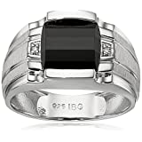 Men's Sterling Silver Onyx Ring with Diamond Accent Ring, Size 9