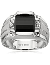 Men's Sterling Silver Onyx Ring with Diamond Accent Ring