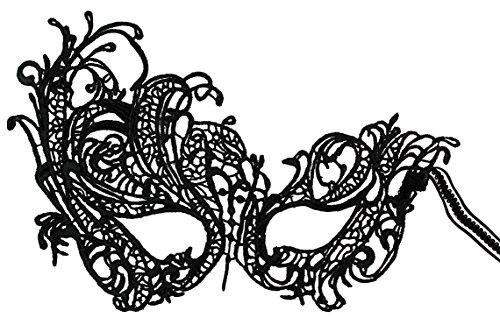 Luxury Mask Women's Stunning All Black Lace Masquerade Mask Swan Elastic ()