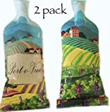 Port-o-Vino Leakproof, Reusable Wine Bottle Travel Protector Accessories Set | Gift Bag | Tote | Wine Cooler with Bubble Skin Lining (2-pack) with *Free e-Guide to California Wine Tasting Included*