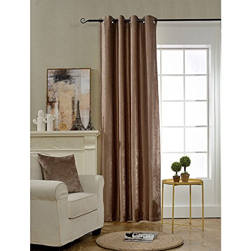 BOKO Natural Chenille Blackout Grommet Window Panel Curtains, 54 X 96 inches, Curtains for Bedroom, Curtains for Livingroom, Comes with a Pillow Cover in the Same Fabric (Chenille Curtain Fabric)