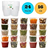 Healthy Packers Deli Food Storage Containers with Lids - 16 oz. Leakproof Clear Plastic Deli Cups - BPA Free, Microwaveable, Freezer and Dishwasher Safe. (24 pack)